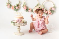 Cleveland Ohio Cake Smash Photographer, Katherine Chambers, Photographs one year Etta with a gorgeous floral cake smash set and crown. One Year Birthday, Girl Birthday Themes, Happy Birthday, 1st Birthday Photoshoot, Baby Cake Smash, First Year Photos, Cake Smash Photography, Cake Smash Photos, Floral Cake