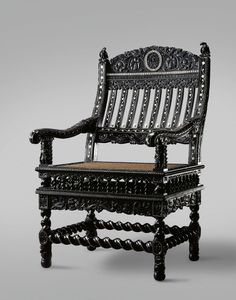 Ebony armchair with Nereids and soldiers. Josiah Child (1630-1699), ca. 1690. Amsterdam, Rijksmuseum BK-1976-79. | http://hdl.handle.net/10934/RM0001.COLLECT.356882