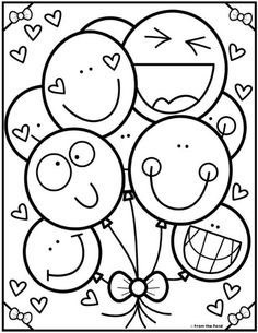 Coloring Club — From the Pond- Coloring Club — From the Pond Color-Bunch-of-Balloons. Birthday Coloring Pages, Cute Coloring Pages, Coloring Pages For Kids, Coloring Books, Kindergarten Coloring Pages, Kindergarten Colors, Color Club, Color Activities, Printable Coloring