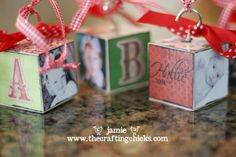 Homemade block ornaments/add verse to one side and family initial to another