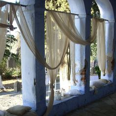 Rustic wedding entrace with hanging gauze fabrics. Wedding Entrance, Rustic Weddings, Thessaloniki, Gauze Fabric, Rustic Decor, Wedding Decorations, Fabrics, Bouquet, Curtains