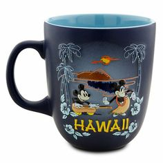 Disney Hawaii Minnie and Mickey Mouse Mug. Take a sunset sip of the tropics along with Mickey and Minnie from their souvenir Hawaii Mug. Minnie dances the hula to Mickey's ukelele in vintage-style graphics inspired by Walt Disney's cartoon classic. Mickey Mouse Mug, Mickey And Minnie Love, Casa Disney, Disney Home, Disney Parks, Walt Disney Cartoons, Disney Coffee Mugs, Disney Cups, Disney Kitchen