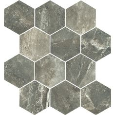 Tesoro Anthology x Porcelain Mosaic Tile in Antracite Hexagon Mosaic Tile, Street House, Stone Tiles, Porcelain, Flooring, Ceramics, Rugs, Color, Remodeling Ideas