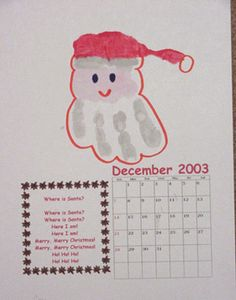 Make a calendar out of hand prints! One for every month with descriptio… So cute! Make a calendar out of hand prints! One for every month with descriptions. Teacher Christmas Gifts, Teacher Gifts, Holiday Gifts, Christmas Crafts, Teacher Stuff, Holiday Ideas, Handprint Poem, Santa Handprint, Make A Calendar