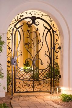 Hand forged scroll gate.