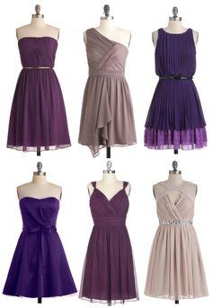 Mismatched Bridesmaid Dresses Purple