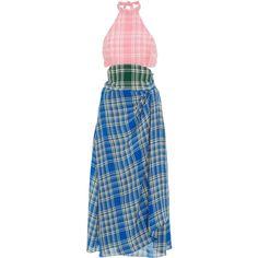 Rosie Assoulin Plaid Halter Neck Dress ($1,695) ❤ liked on Polyvore featuring dresses, plaid, rosie assoulin, mid calf dresses, blue halter dress, cut out dresses, midi dress and blue plaid dress