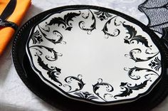 black damask plates, spooky spider halloween | Be Envied Entertaining