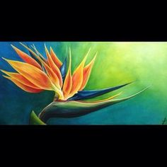Birds of Paradise flower Acrylic painting Acrylic Painting Flowers, Abstract Flowers, Acrylic Painting Canvas, Watercolor Flowers, Watercolor Paintings, Paradise Painting, Evans Art, Flower Drawing Tutorials, Birds Of Paradise Flower