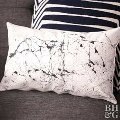 Lay your head on something stylish with this marble-inspired DIY project.