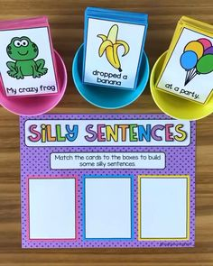 Silly Sentences Activity This literacy center helps students learn sentence structure and form some amazing sentences. It exposes them to sentences filled with nouns, adjectives and verbs and allows them to see how to formulate a quality sentence. Kindergarten Learning, Preschool Learning Activities, Writing Activities, Classroom Activities, Student Learning, Kindergarten Literacy Centers, 1st Grade Centers, Writing Center Kindergarten, School Age Activities
