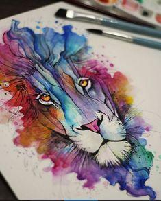 Lion leão tatto aquarela tatuagem