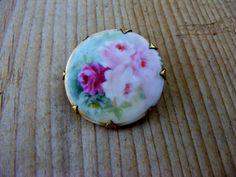 Hand Painted Vintage Porcelain Brooch Roses Victorian Limoges. $22.50, via Etsy.