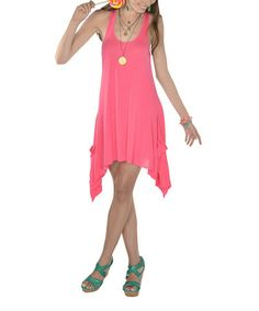 Look what I found on #zulily! Hot Pink Sidetail Dress - Women by Lagaci #zulilyfinds