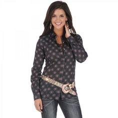 Womens Wrangler Black Multi Long Sleeve Print Shirt