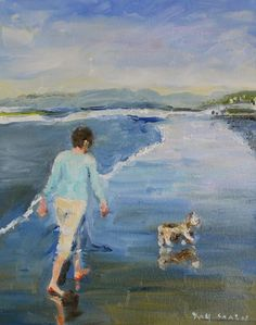 Oil painting of a woman walking her dog on the beach by St. Louis artist Kay Crain