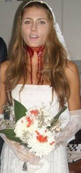 For Halloween: killed bride (the white bouquet of chrysanthemums with blood on them is the final touch)