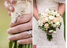Flowers for the Bride - Weddings by Monday Morning Flowers Love the use of the #rosary on her #bridal #bouquet
