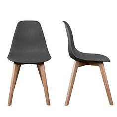 2 chaises Scandinave Patchwork br Noir et écru