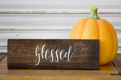 Blessed Wooden Sign, Thanksgiving Wood Sign, Fall Decor, Farmhouse Style, Rustic Fall Sign, Distressed Autumn Decor, Stained Wood Sign by TinSheepShop on Etsy