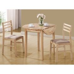 East West Furniture DLML3 MAH C 3 Piece Round Kitchen Table and 2
