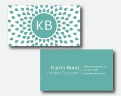 Business Card Photoshop Template, Turquoise Business Card, Personal Business…