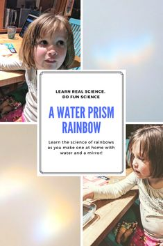 How to make a rainbow with just water and a mirror Learn how to make a water prism in this fun Leprechaun themed science activity for kids. Rainbow Learning, Rainbow Activities, Science Activities For Kids, Preschool Ideas, Rainbow Water, Rainbow Prism, Science Fair Experiments, Science Fair Projects, Water Kids