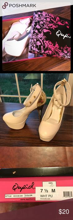 87dca8f2c856 Shop Women s Qupid White Gold size Heels at a discounted price at Poshmark.  Description  New in box Qupid white platform heels size with gold spike  details.