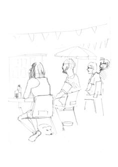 18/8/13. Drinkers picture 3. At the Bacchus Pub, Sutton on Sea. 5 min pencil sketch. #drawingaugust