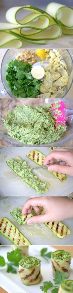 Grilled Zucchini Artichoke Pesto Bites by  fifteenspatulas via kidskubby: Use frozen or jarred artichokes!  #Healthy #Zuccini_Rolls #Artichoke