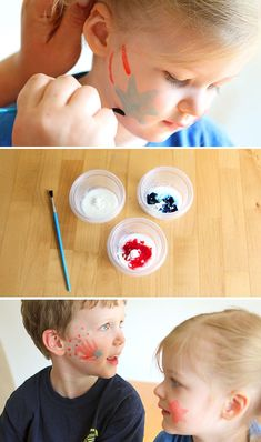A super simple, non-toxic homemade face paint recipe for the 4th of July (or any occasion) #4thofjuly #4thofjulydiy #facepainting