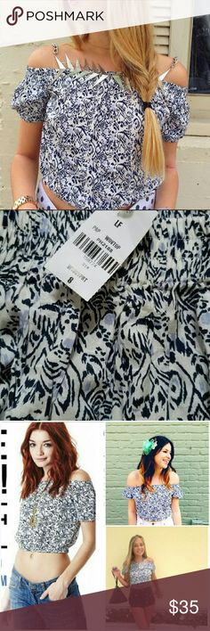 NWT LF Off-shoulder Navy White Tribal Crop Top Brand new with tags. Adorable bold navy, blue, & white crop top. Tribal & ikat feel. Versatile: can wear off-the-shoulder/cold-shoulder style or further up on the shoulders. So fun! 50/50 Polyester Cotton. Retailed at LF for $114. By Paper Heart. Sz 8 (Aus), which is equivalent to 4 (US). I'm also selling other similar LF tops in different sizes & patterns.  Please check out my closet for more NWT LF items to bundle w/ discount & save more w/ 1…