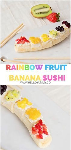 Fruit Sushi, Banana Sushi, Dessert Sushi, Kids Fruit, Banana Fruit, Rainbow Snacks, Rainbow Fruit, Eat The Rainbow, Sushi For Kids