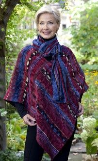hot off the loom Sewing Clothes, Crochet Clothes, Loom Weaving, Hand Weaving, Cape Scarf, Clothing Boxes, Textiles, Capes, Weaving Projects