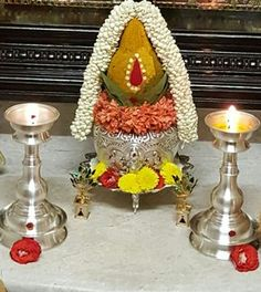 Housewarming Decorations, Diwali Decorations, Flower Decorations, Wedding Decorations, Rangoli Ideas, Rangoli Designs, Silver Pooja Items, Ganapati Decoration, Pooja Room Door Design