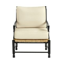 Coastal decor. Love this chair, it comes in black or white and choice of fabric. Toulon Chair | Ballard Designs
