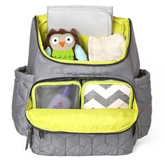 The SKIP*HOP Forma Backpack #diaperbag features a stylish, quilted design and offers the convenience of a hands-free bag.