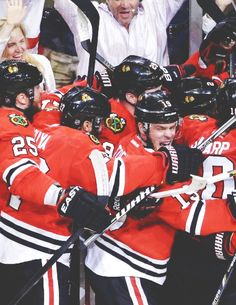 Group hug of humanity as the Blackhawks advance to the Conference Finals (Source: withglowinghearts-)