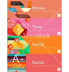 Flat design paper infographic banner set vector 4139774 - by antishock on VectorStock®