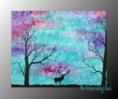 """Deer Painting OriGiNaL Artwork 20"""" x 16"""" Acrylic on Canvas CoLoRfUL Painting by ArtworkbyJeni - """"Entering the Meadow"""""""