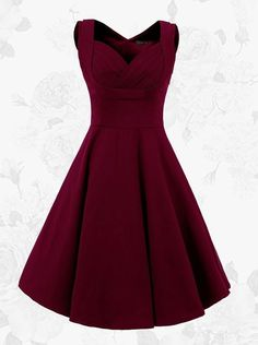Women Vintage Style Square Neck Homecoming Dress, Knee Length Burgundy Swing Party Dress