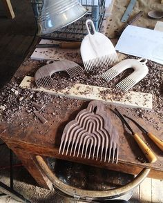 Process shot from the other day working the oversized comb objects. Carved the whole thing with th...