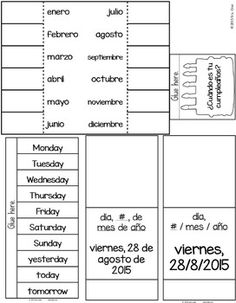 Spanish Interactive Notebook Activity:  La Fecha