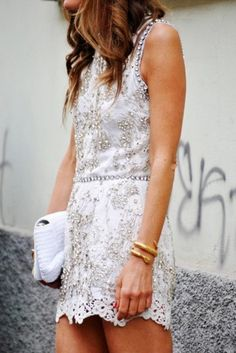 Dress: beaded d & g white lace detail short white pinterest lace jeweled embellished cocktail