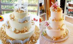 bolo temático para casamento na praia