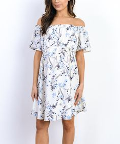 This Hello Miz Navy & Ivory Floral Maternity Off-Shoulder Dress is perfect! #zulilyfinds