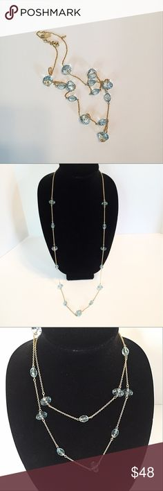 """Kate Spade Crystal Aquamarine Scatter Necklace Gold plated aquamarine crystals on a 41"""" scatter necklace by Kate Spade. In like new condition. Kate Spade insignia and tiny spade charm at lobster clasp. Weight 24.5g kate spade Jewelry Necklaces"""