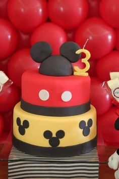 Mickey Mouse Cake and Striped Runner Más Mickey Mouse Birthday Decorations, Theme Mickey, Fiesta Mickey Mouse, Mickey Mouse Clubhouse Party, Mickey Mouse Clubhouse Birthday, Mickey Mouse Cake, Mickey Mouse Parties, Mickey Birthday, Mickey Party