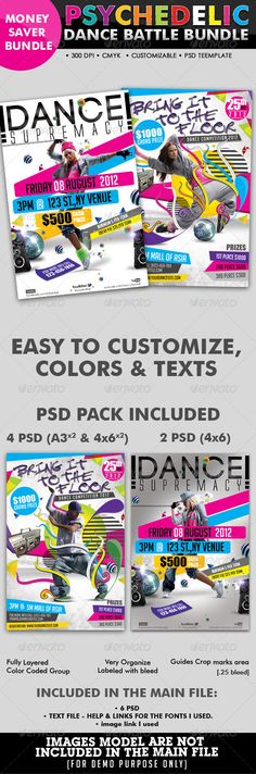 Psychedelic Dance Battle Flyer #glow #white #cmyk • Click here to download ! http://graphicriver.net/item/psychedelic-dance-battle-flyer-bundle-07/2907521?ref=pxcr