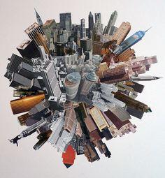 Denis Schäfer: Hundert Türme.  #Collage #Skyline #NY #Wolkwnkratzer #Hochhäuser #Häuserkugel  #startyourart #DenisSchäfer www.startyourart.de